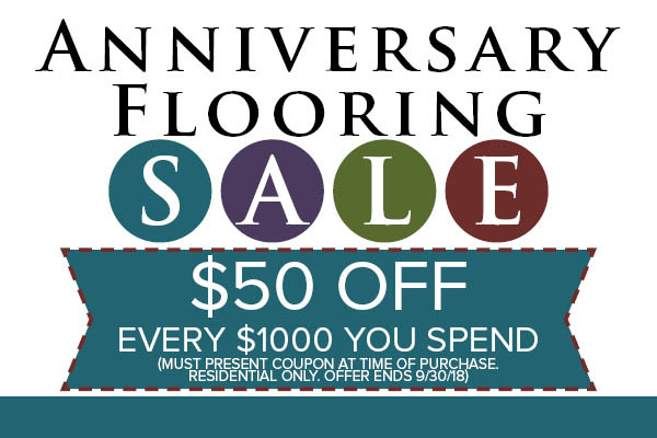 Anniversary flooring sale going on now at Towne Pride in Hampstead!  Take $50 off every $1000 you spend with this coupon!  Coupon must be presented at time of purchase.  Residential only.  Offer ends 9/30/18.