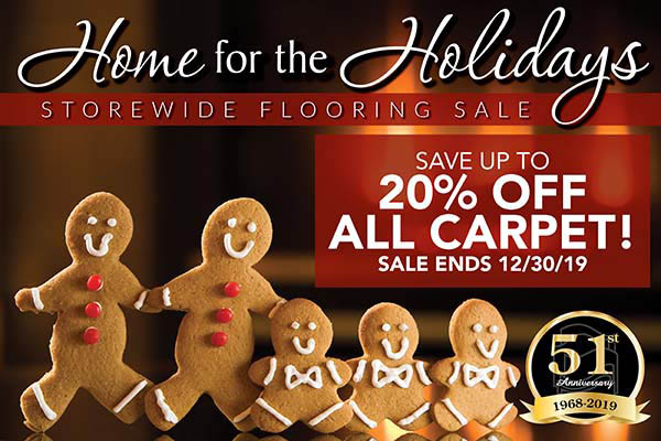 Save up to 20% OFF all carpet!  Sale ends 12/31/19!
