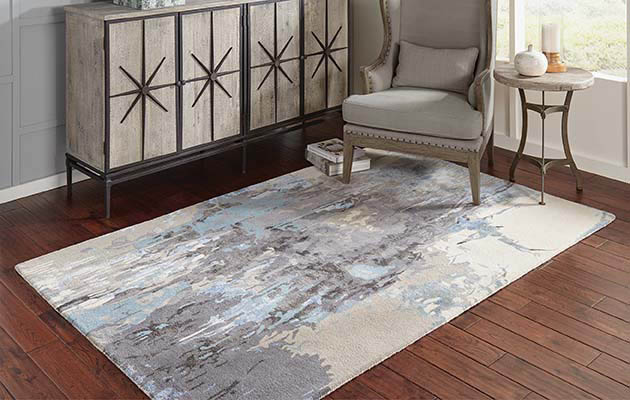 Blue modern looking area rug roomscene