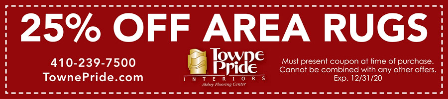 25% off Area Rugs at Towne Pride Interiors. Cannot be combined with any other offers. Expires December 31, 2020