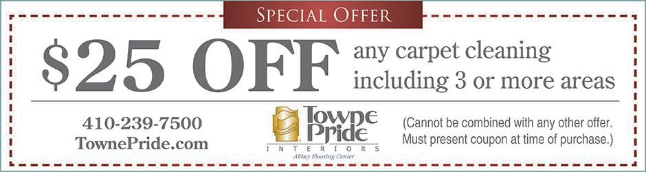 $25 off any carpet cleaning including 3 or ore areas at Towne Pride Interiors